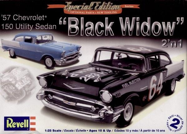 "Black Widow Chevy >> Revell 85-4240 1/25 1957 Chevrolet 150 Utility Sedan ""Black Widow"" 2 n 1 Plastic Model Kit"